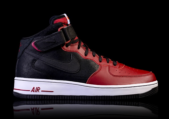 NIKE AIR FORCE 1 MID '07 BLACK TEAM RED