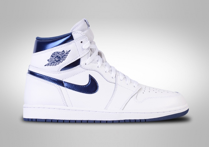 NIKE AIR JORDAN 1 RETRO HIGH OG WHITE METALLIC NAVY BG (SMALLER SIZE)