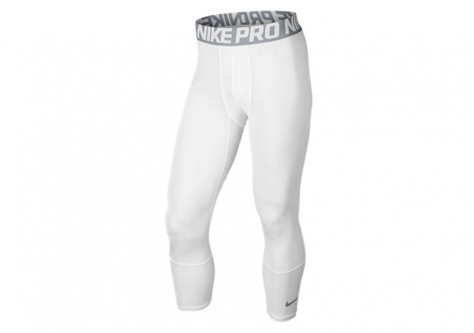 NIKE PRO HYPERCOOL BASKETBALL TIGHT THREE-QUARTER WHITE