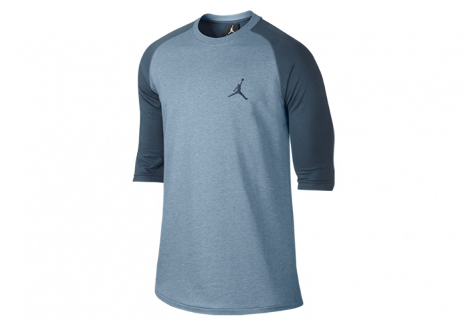 NIKE AIR JORDAN 23 TRUE 3/4 RAGLAN BLUE GREY HEATHER