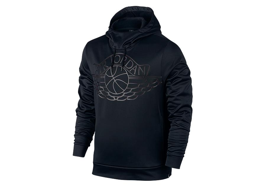 nike air jordan wings basketball pullover hoodie black for. Black Bedroom Furniture Sets. Home Design Ideas