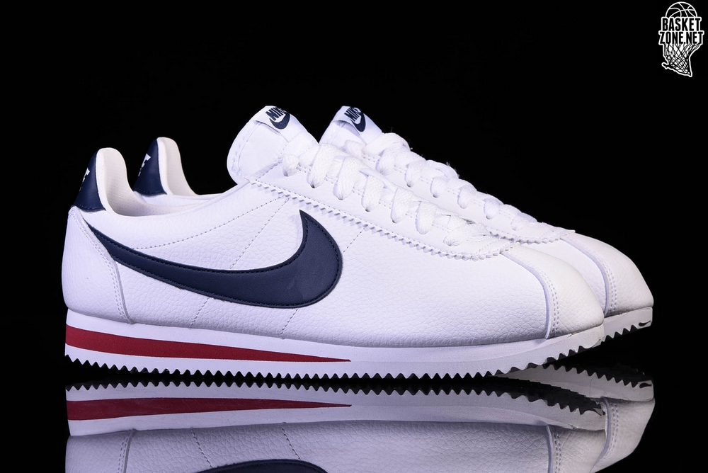 NIKE CLASSIC CORTEZ LEATHER WHITE/MIDNIGHT NAVY-GYM RED