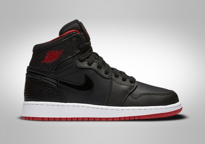 NIKE AIR JORDAN 1 RETRO HIGHT BG BLACK/RED-WHITE