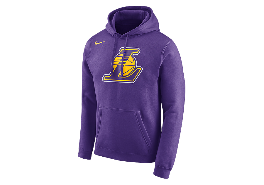 NIKE NBA LOS ANGELES LAKERS CLUB LOGO HOODIE FIELD PURPLE