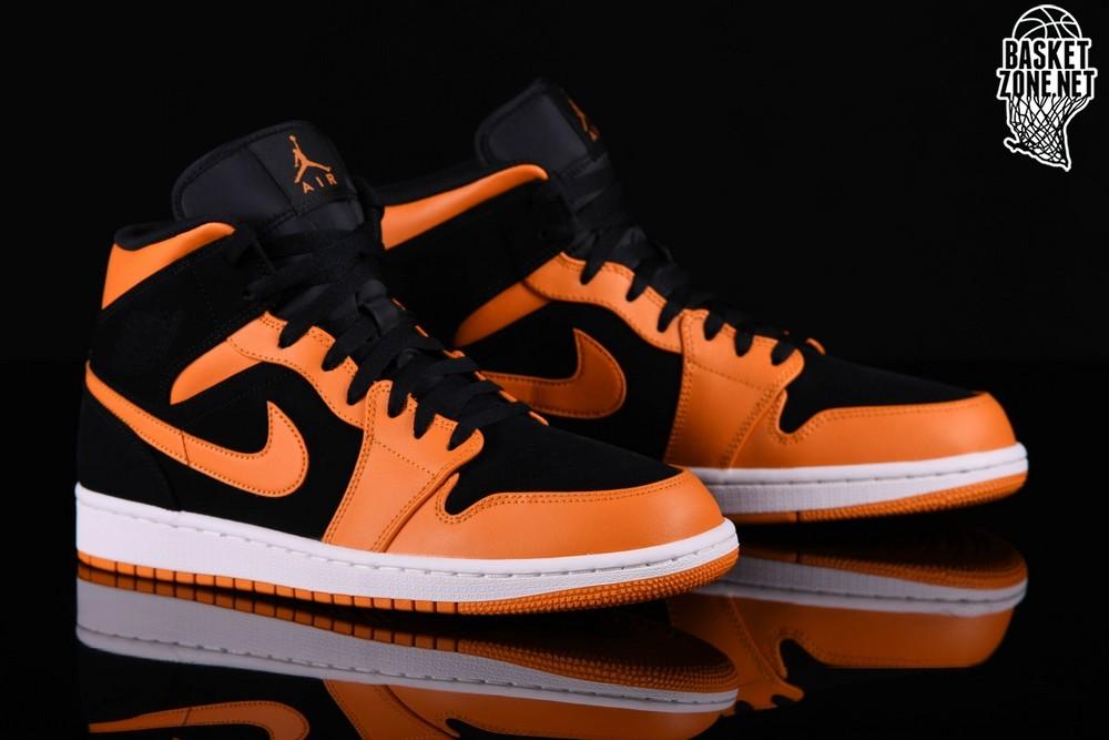 nike air jordan 1 mid czarny orange peel