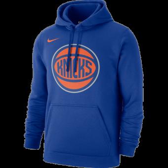 NIKE NBA NEW YORK KNICKS CLUB LOGO FLEECE PULLOVER HOODIE