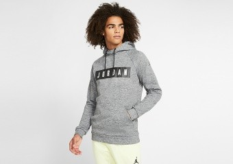 NIKE AIR JORDAN THERMA 23 ALPHA FLEECE PULLOVER HOODIE CARBON HEATHER