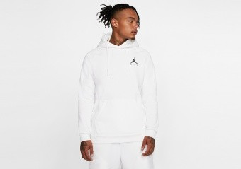 NIKE AIR JORDAN JUMPMAN FLEECE PULLOVER HOODIE WHITE