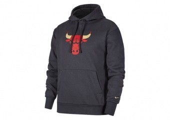 NIKE NBA CHICAGO BULLS CITY EDITION LOGO PULLOVER FLEECE HOODIE ANTHRACITE