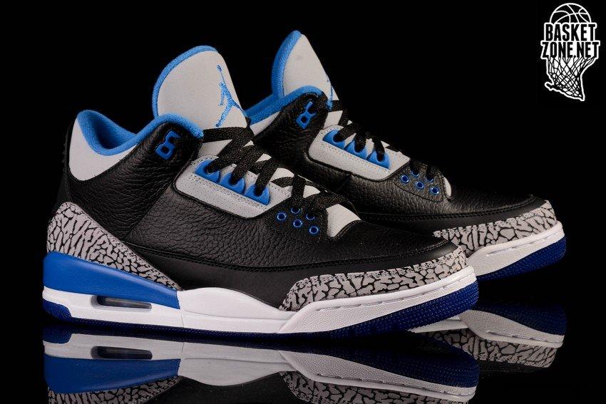 nike air jordan 3 retro black sport blue