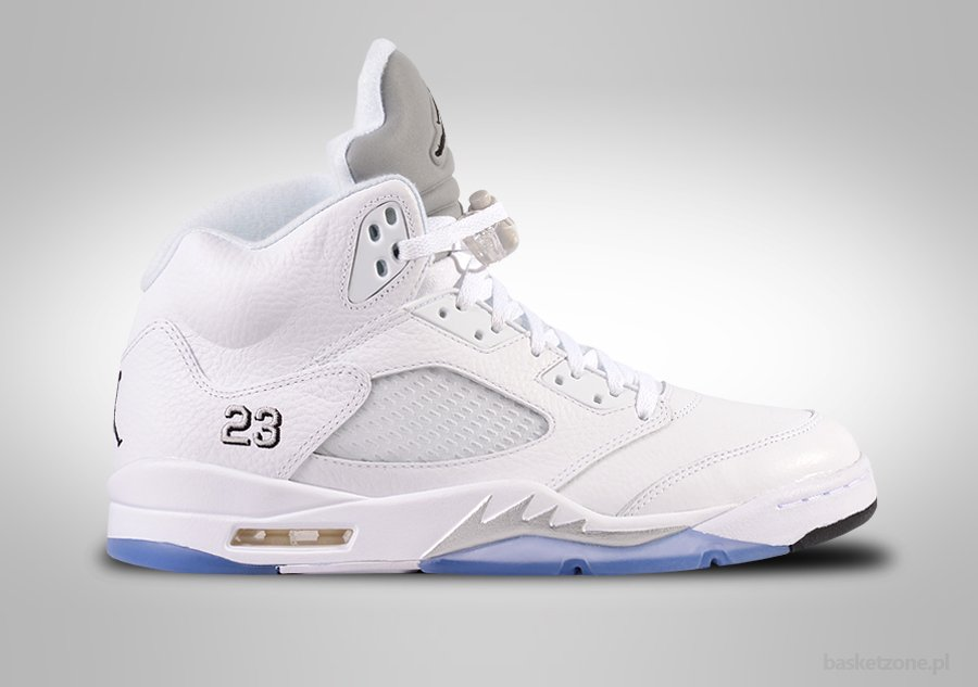 NIKE AIR JORDAN 5 RETRO WHITE METALLIC SILVER. 136027-130