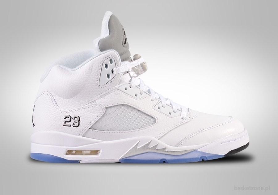 Air Jordan 5 Retro White Metallic Silver Black shoes