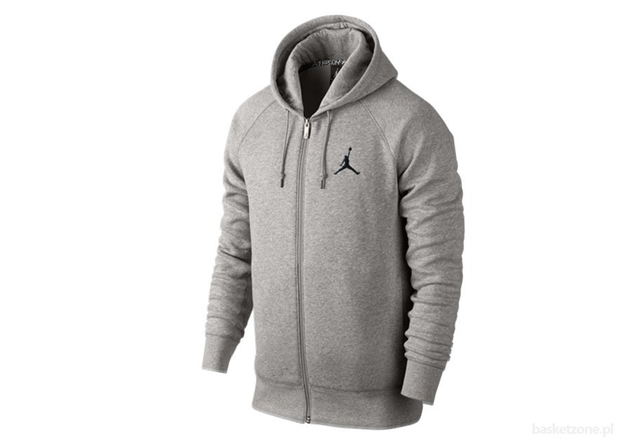 NIKE AIR JORDAN JUMPMAN BRUSHED F/Z HOODY DK GREY HEATHER/BLACK