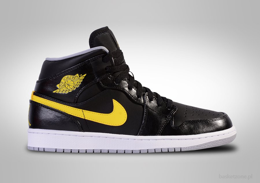 NIKE AIR JORDAN 1 RETRO MID BLACK YELLOW SWOSH